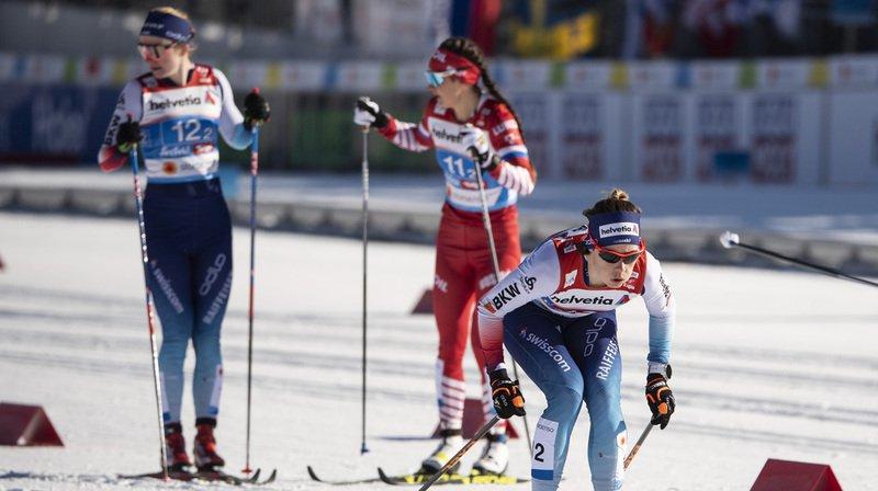 La Bernoise Nadine Fähndrich, à droite sur la photo, a terminé 5e au 10km en style classique des Mondiaux de Seefeld.
