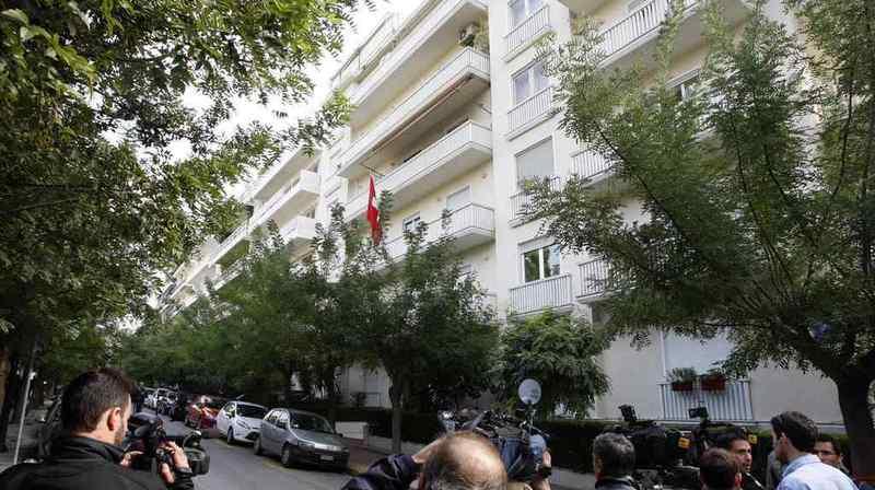 """L'action de protestation, menée par le groupe militant """"Rubikon"""", n'a duré que quelques minutes dans la salle d'attente de l'ambassade suisse à Athènes (Grèce). (Archives)"""