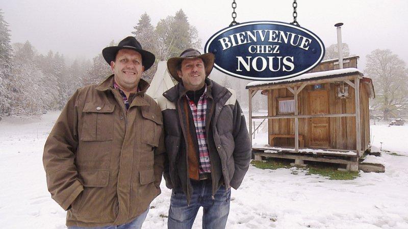 Christian Lecomte et son neveu Lionel lors des enregistrements de l'émission il y a quelques semaines.