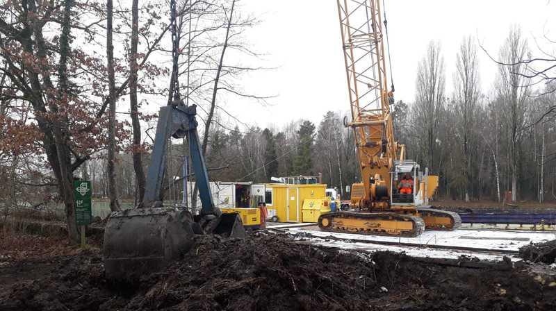 Les travaux de création du plan d'eau cet hiver dans la réserve du Fanel, à La Tène.