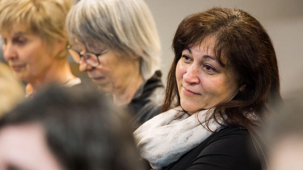 Sandra Menoud, à droite, seule femme parmi les prétendants PLR aux élections fédérales.