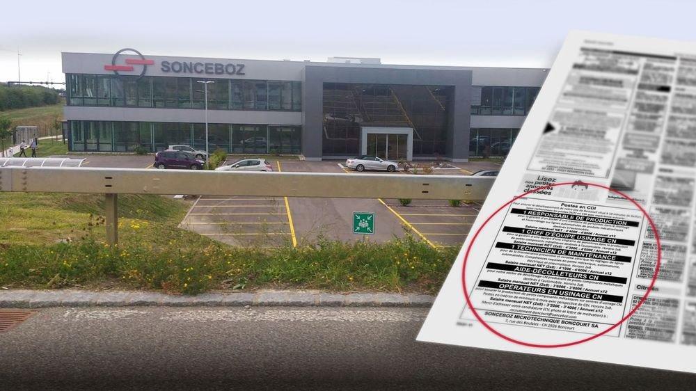 La firme Sonceboz SA a fait paraître une offre d'emploi pour plusieurs postes en France.