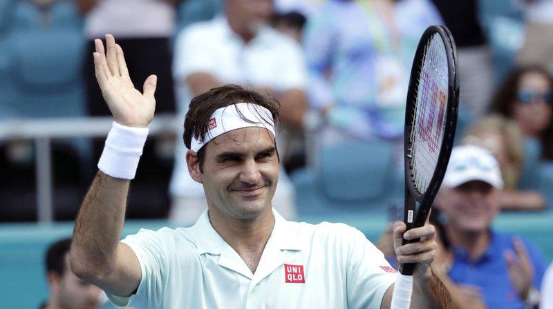 Tennis: Federer se qualifie pour les quarts de finale du tournoi de Miami