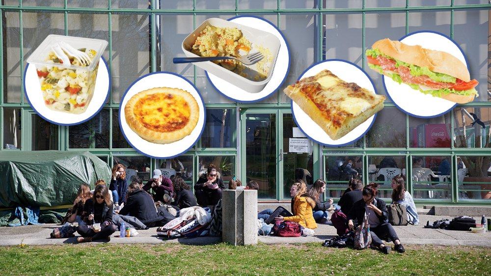 A midi, beaucoup d'étudiants mangent de la nourriture industrielle à l'extérieur de leur établissement.
