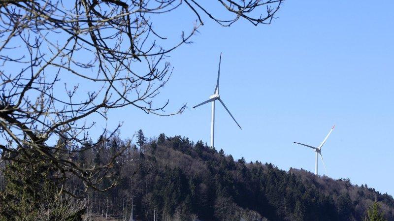 Les éoliennes du parc de Saint-Brais.