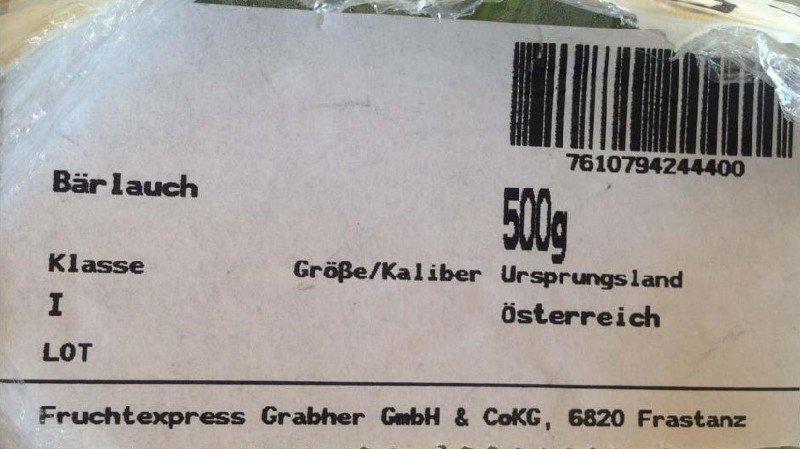 Il s'agit du produit nommé ail des ours, classe 1, 500 g, en provenance d'Autriche, ayant pour code EAN : 7610794244400.
