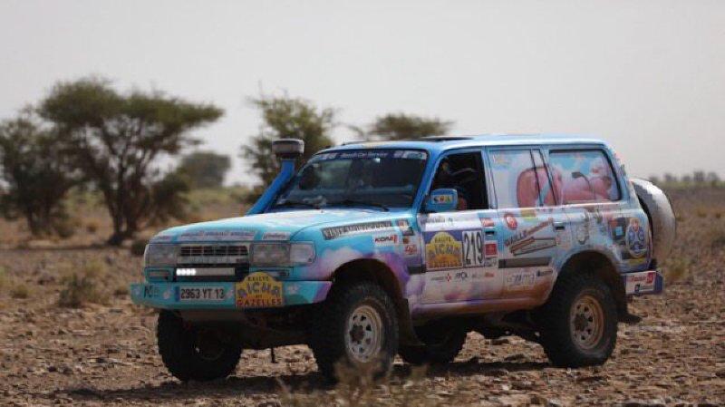Le 4x4 dans lequel Claire Rodier-Mefflet a participé au rallye Aïcha des gazelles, au Maroc.