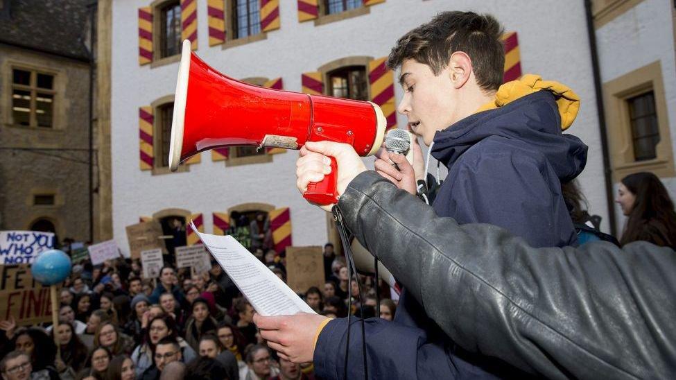 Lors d'une manifestation pour le climat dans la cour du château de Neuchâtel en janvier dernier.