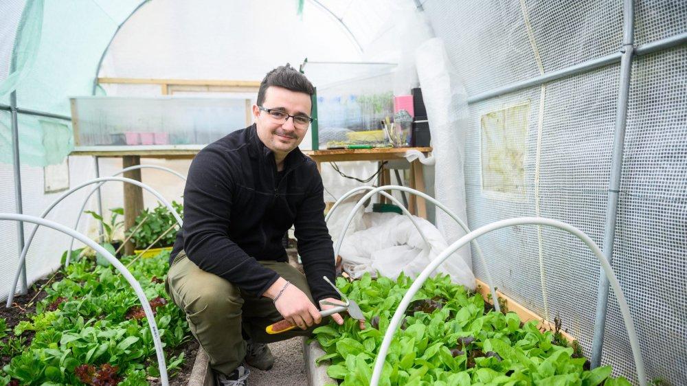 Davide di Francesco, jeune dessinateur en horlogerie loclois, partage ses techniques de jardinage a 1000 mètres d'altitude sur les réseaux sociaux.