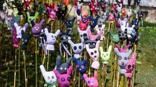 De drôles de lapins envahissent une rue de Marin