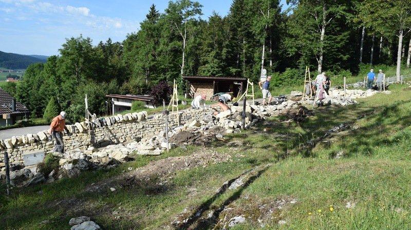 Les bénévoles reconstruisent un mur en pierres sèches, à la sortie de La Sagne.