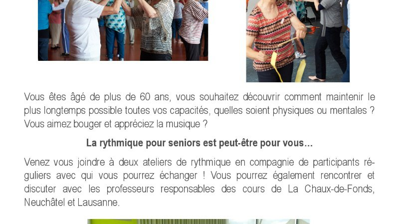 Découverte de la rythmique pour seniors