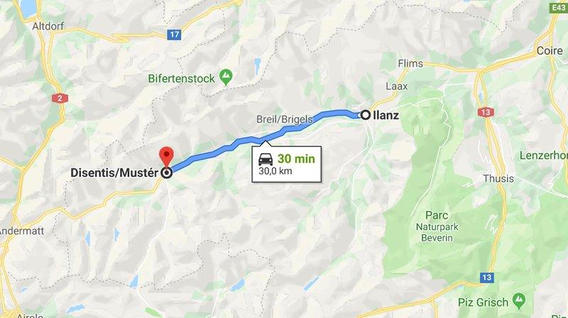 Des bus de remplacement circulent entre Ilanz et Disentis.
