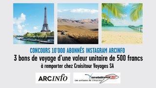 Concours organisé pour célébrer les 10'000 abonnés de la page Instagram d'ArcInfo