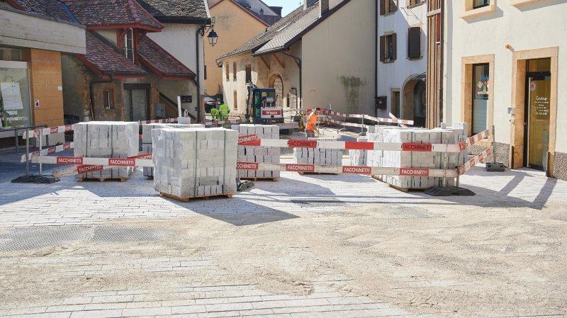 Protestation contre la durée des travaux au centre de Saint-Blaise