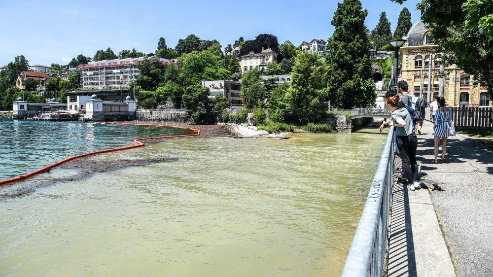 L'embouchure du Seyon dans le lac de Neuchâtel. Après l'orage d'il y a dix jours, le cours d'eau a charrié des quantités impressionnantes de terre et de bois, qu'il a fallu retenir par un barrage flottant.