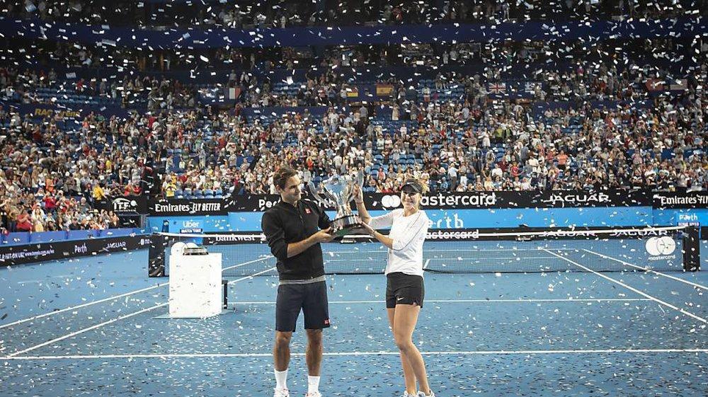 Même si les compétitions deviennent mixtes (ici la Hopman Cup 2019 avec Roger Federer et Belinda Bencic), les hommes auront toujours - en sport - une longueur d'avance sur les femmes.