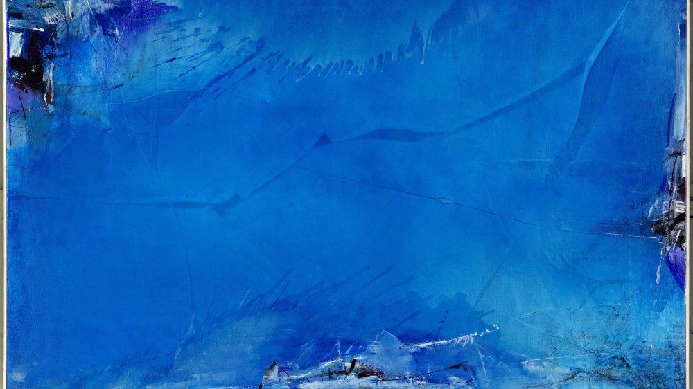 """""""Du ciel et de l'eau"""", une huile sur toile datée de 1984-86, exposée parmi une soixantaine d'autres à la Halle des expositions de Delémont."""