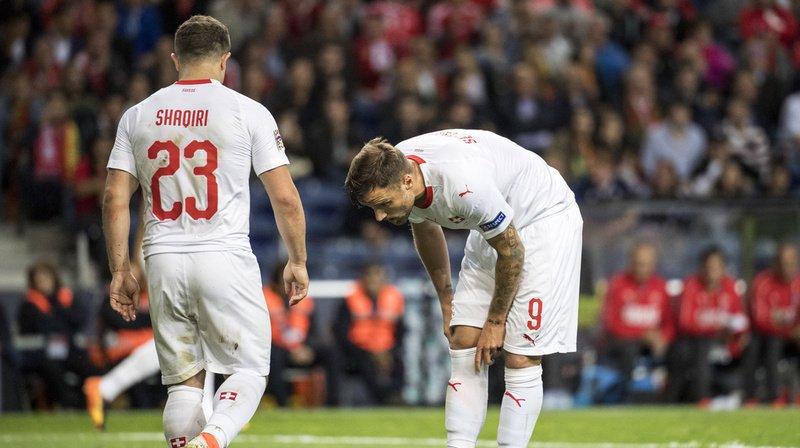 Le 7 juin dernier, Xherdan Shaqiri et Haris Seferovic semblent déçus après l'élimination de la Suisse contre le Portugal en Ligue des nations.