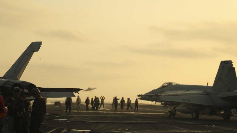Le drone iranien s'est approché trop près du porte-avion USS Boxer. (Illustration)