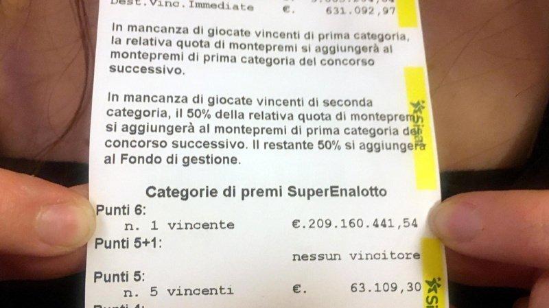 Italie: un joueur remporte 228 millions de francs au loto, un record absolu