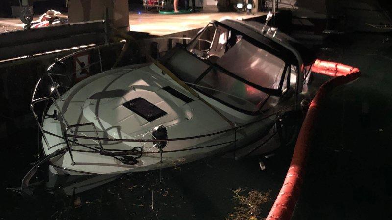 Le navire accidenté au port de Saint-Blaise.