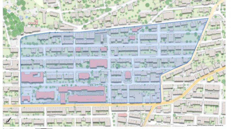 La zone 30 couvre le périmètre délimité par les rues Alexis-Marie-Piaget (au nord), Bel-Air (à l'est), Numa-Droz (au sud) et Docteur Coullery (à l'ouest).