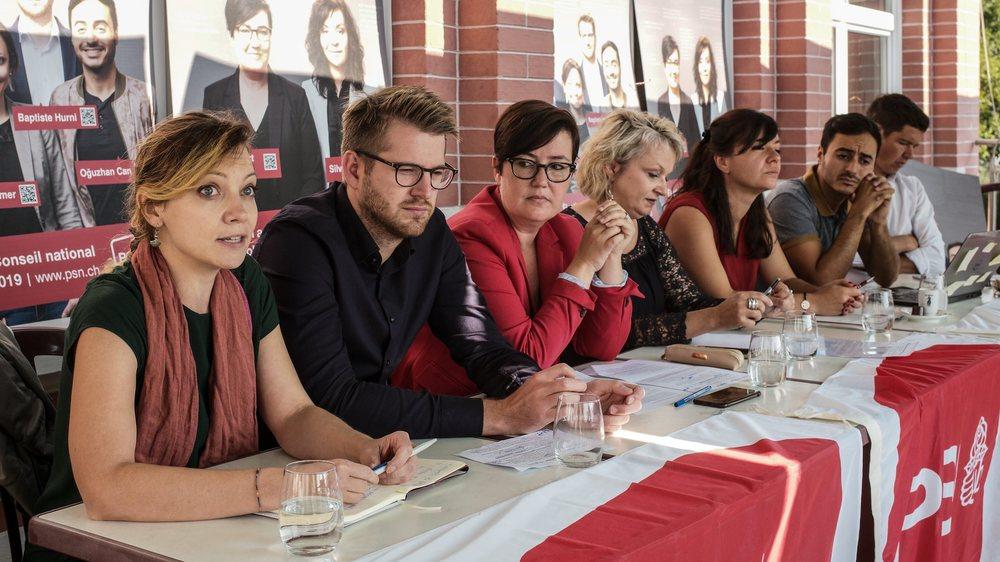 Aurélie Widmer, Baptiste Hurni, Martine Docourt Ducommun, Florence Nater (présidente), Silvia Locatelli, Oguzhan Can et Grégory Jaquet.