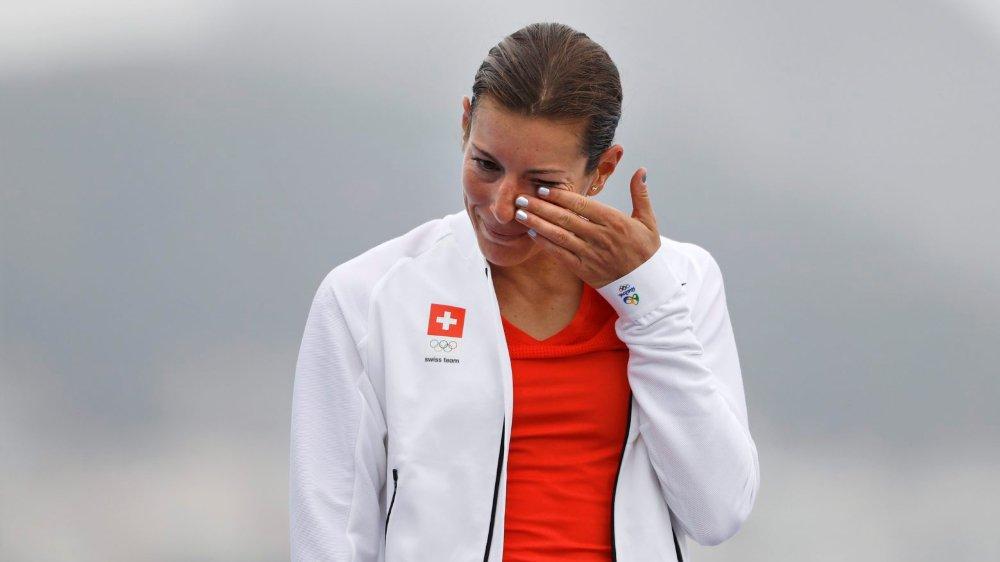 Nicola Spirig émue après sa deuxième place aux JO de Rio.
