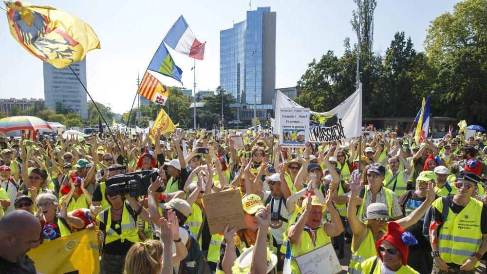 Les manifestants à la place des Nations, à Genève.