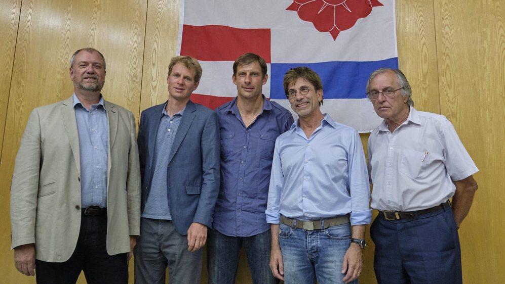 Le nouveau Conseil communal de La Grande Béroche: Alexandre Béguin, Tom Egger, Thierry Pittet, François Del Rio et Gilbert Baertschi (de g. à dr.).