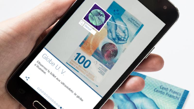 """L'application """"Swiss Banknotes"""" de la BNS permet de se familiariser avec les billets de la nouvelle série."""