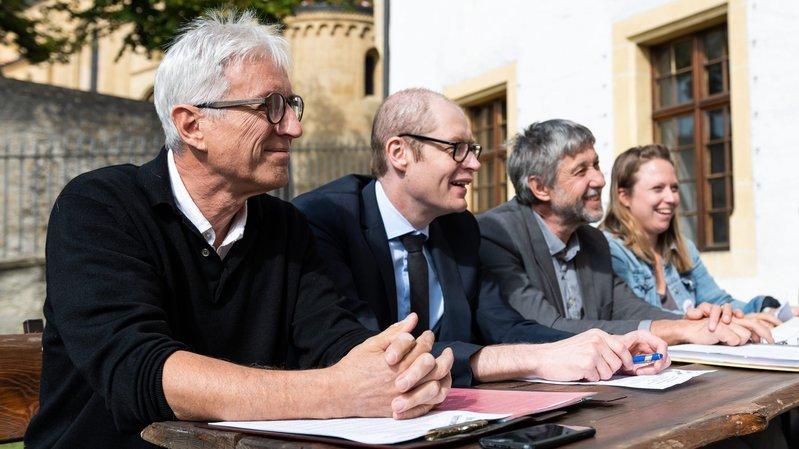 Alexandre Houlmann, Frédéric Matthey-Doret, Laurent Debrot et Sarah Blum.