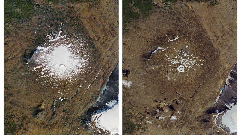 Photos transmises par la NASA: à gauche, le glacier en 1986, à droite, en août 2019.