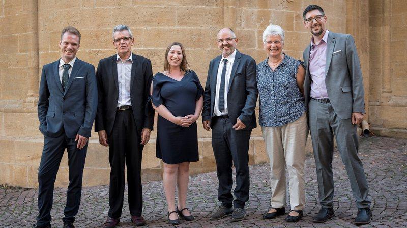 Le nouveau Conseil synodal: Adrien Bridel, Jacques Péter, Clémentine Miéville, Christian Miaz, Alice Duport et Yves Bourquin.