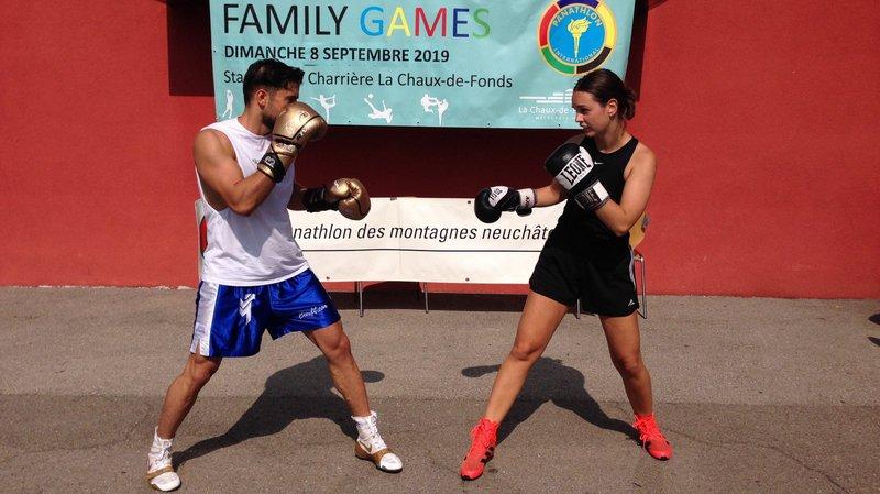 Démonstration de boxe par Mehmet Demirci et Mathilde Piguet, du Boxing Club de La Chaux-de-Fonds.