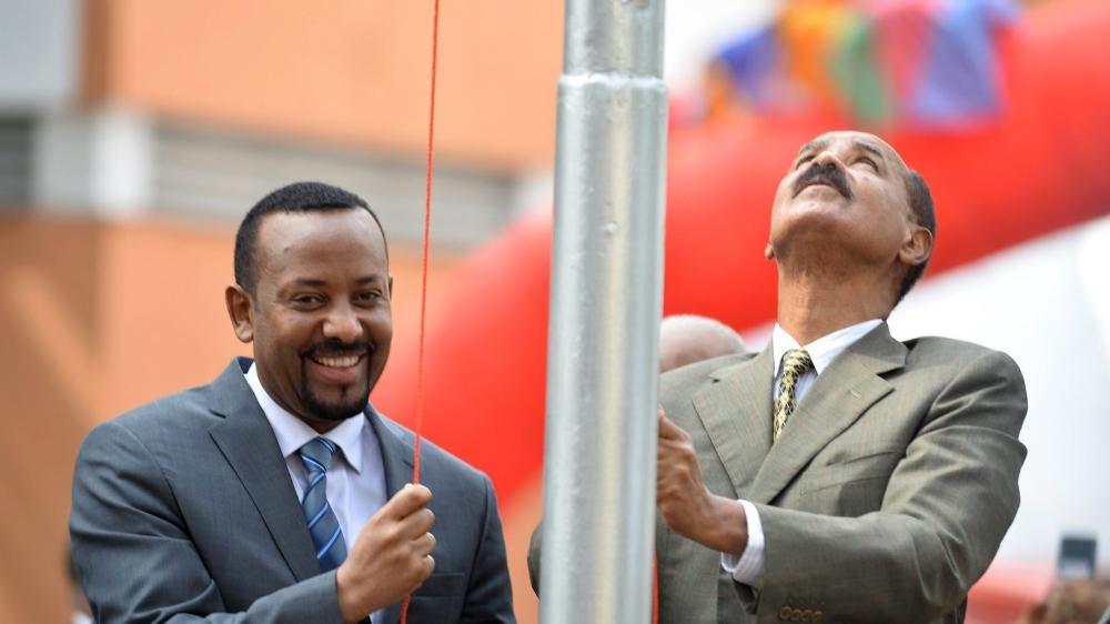 Abiy Ahmed (à droite) a été primé pour avoir engagé la paix avec l'Erythrée et son président, Issayas Afewerki.