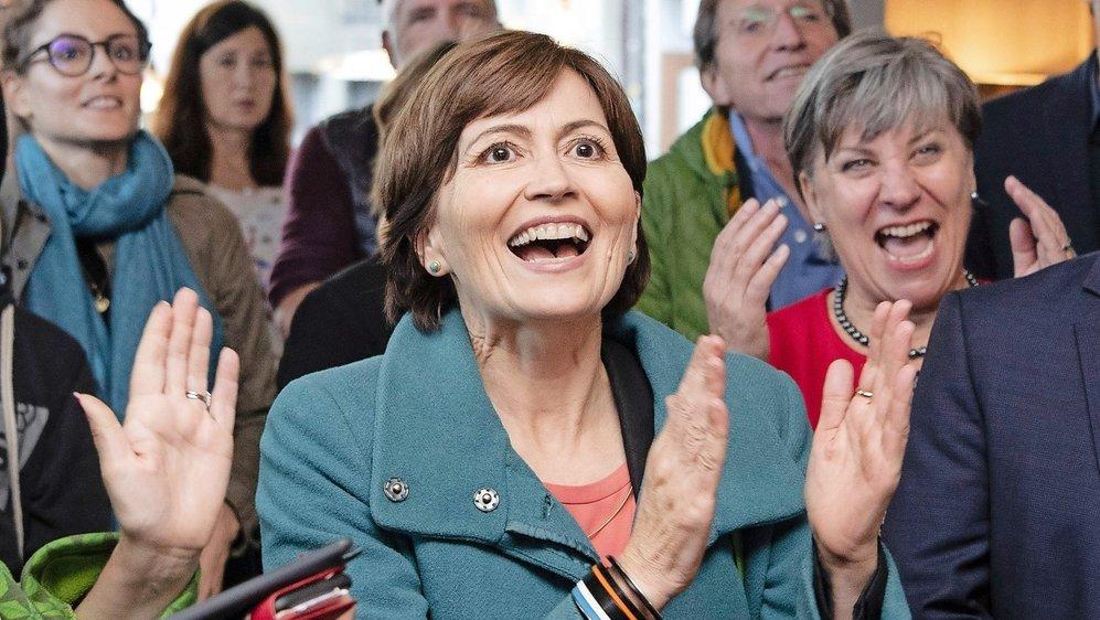 La présidente des Verts Regula Rytz avait de quoi se réjouir, hier, à l'annonce des résultats.