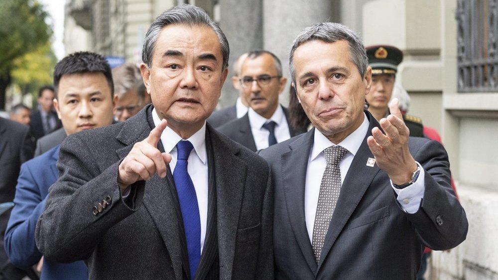 Ignazio Cassis a accueilli, hier, son homologue Wang Yi à Berne.