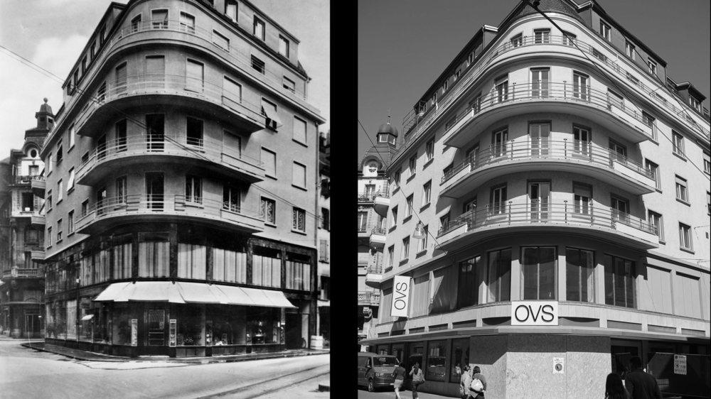 Neuchâtel: à gauche, l'immeuble du Sans Rival, racheté en 1920 par Gonset, photographié en 1938. A droite, le même bâtiment en 2019.