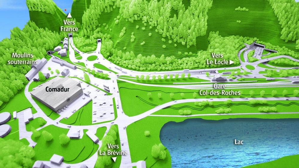 La maquette de la plaine du Col-des-Roches, une fois le tunnel d'évitement et le lac du Locle réalisés.