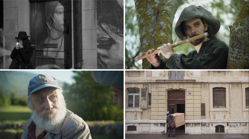Quatre images issues des réalisations. «Colimaçon» en haut à gauche, «La carpe», en bas à droite et «Le joueur de flûte» sur l'autre diagonale, avec le figurant rencontré dans un bus, Ernest Riesen (en bas à gauche).