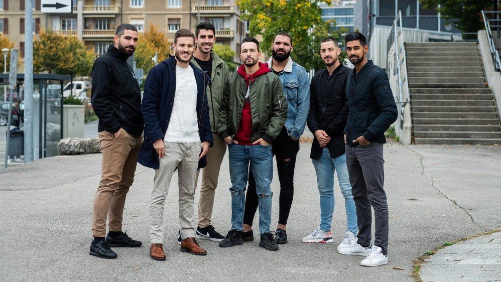 Christian Medugno, Andrea Gardet, Samuel Faga, Kevin Fonseca, Francesco Medugno, Fabio Carsana et Kevin Jacot (de gauche à droite).