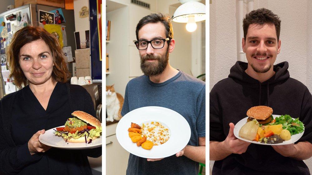 Sophie Rupp Gertsch, Christophe Grandet et Noé Jobin (de gauche à droite) ont changé leurs habitudes alimentaires.