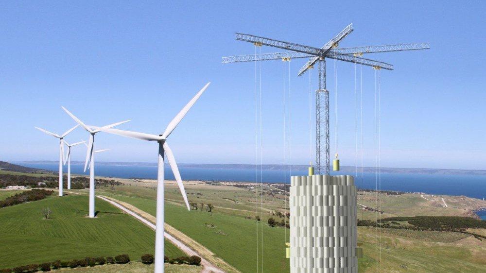 Le principe d'Energy Vault est de stocker de l'énergie, par exemple éolienne, en empilant des blocs. Ensuite, quand le besoin s'en fait sentir, les blocs restituent l'énergie emmagasinée pour les faire grimper.