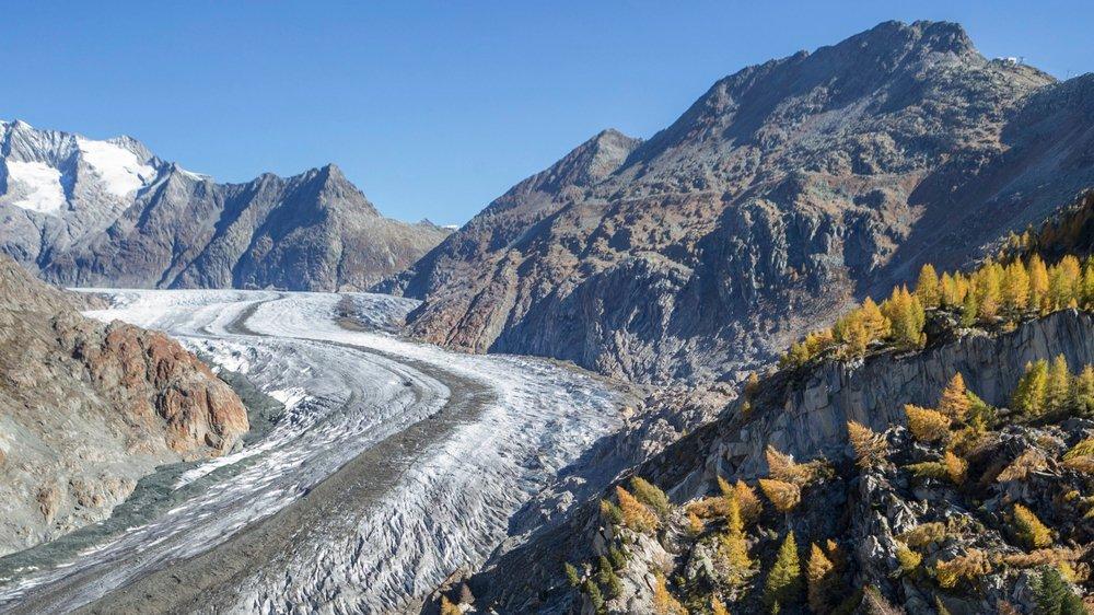 Symboliquement, les initiants ont choisi l'image forte des glaciers (ici celui d'Aletsch), victimes de la hausse des températures, pour marquer les esprits.