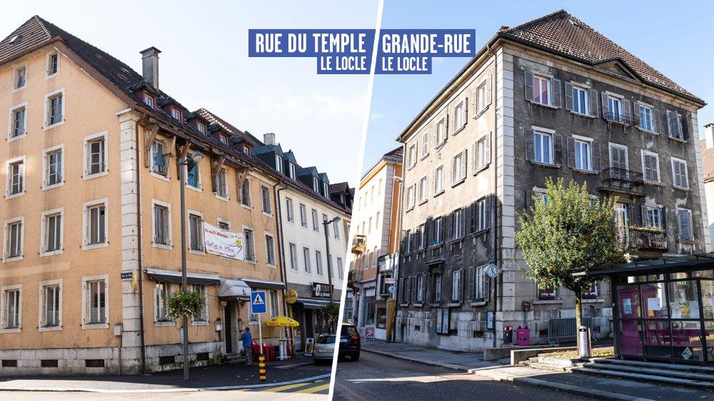 Autour de la place du Marché du Locle, deux immeubles souffrent d'un manque d'entretien flagrant.
