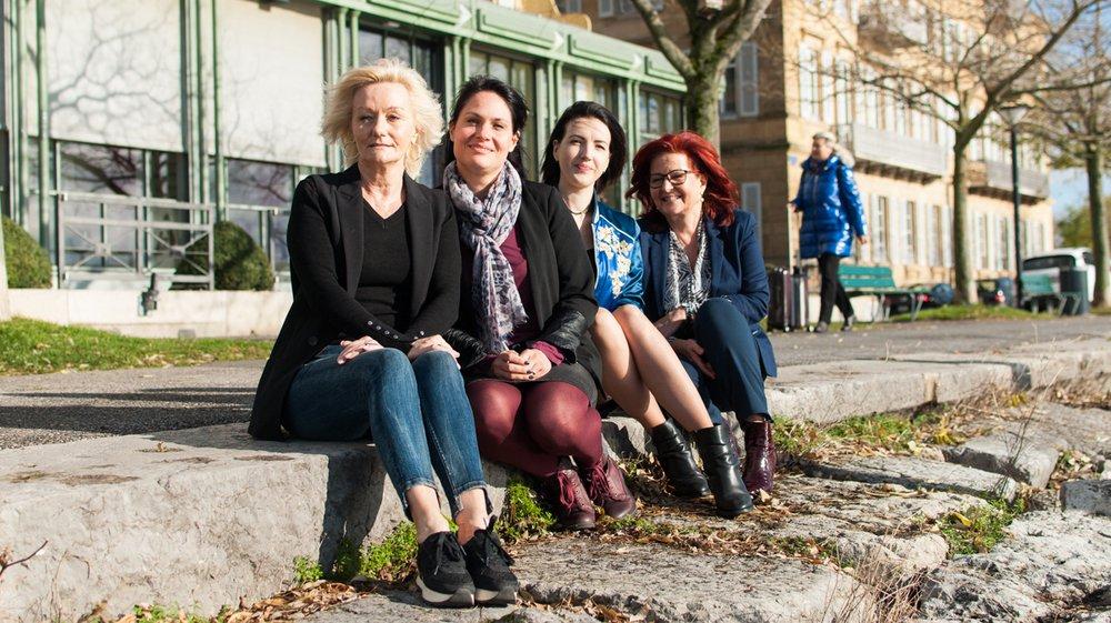 Quatre des six démissionnaires: Véronique Pierrehumbert, Aline Gullung, Marie Beck et Sylvia Bracher (de g. à dr.).