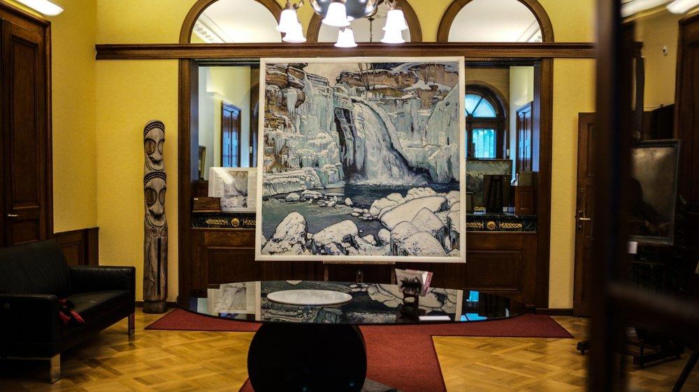 """""""Le Saut-du-Doubs en hiver"""", de Charles L'Eplattenier, est au cœur de l'exposition de l'hôtel Pourtalès-Castellane."""