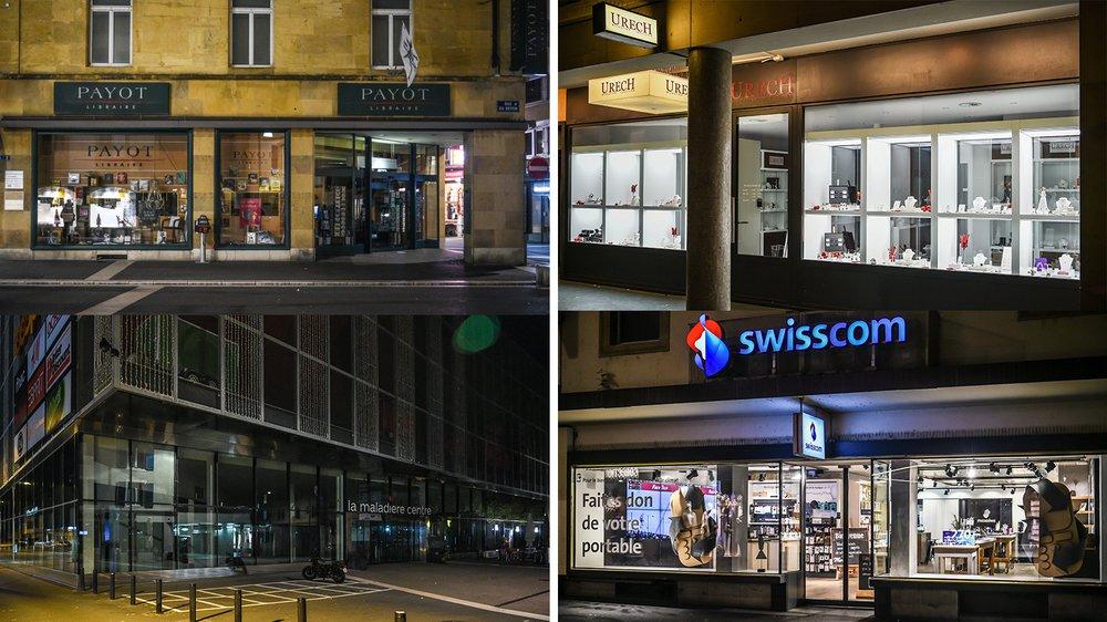 Tous les commerces du canton n'ont pas la même politique en matière d'éclairage de leur vitrine.
